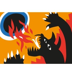 Dragon and flame - cartoons vector