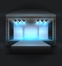 Empty music show stage with spotlights beams vector