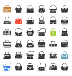Fashion bag icon in various style such as tote vector