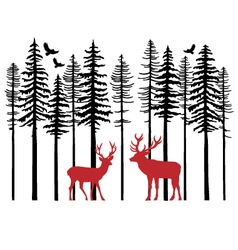 Fir tree forest with reindeer vector