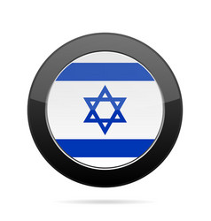 flag of israel shiny black round button vector image