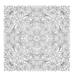 Floral pattern coloring book page for vector