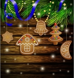 Gingerbread cookies decorations vector