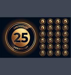 Golden anniversary labels and emblems big set vector