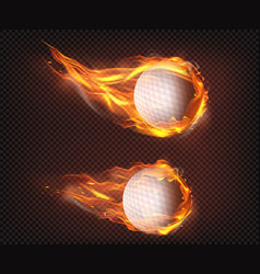 golf balls flying in fire realistic vector image