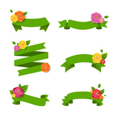green web ribbon with flowers big set vector image