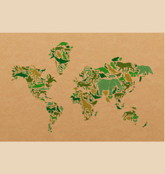 green wild animal recycled paper world map shape vector image