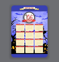 Halloween blue background Calendar 2016 year vector