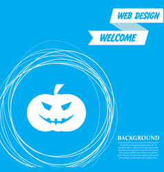halloween pumpkin icon on a blue background with vector image