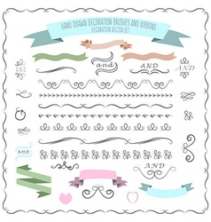 Hand drawn decorative brushes elements a vector