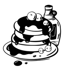 hand drawn pancakes in syrup with blueberries vector image