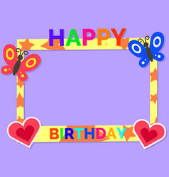 Happy birthday cute colorful photo frame vector
