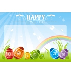 Happy Easter banner border Spring landscape vector