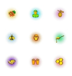 Honey production icons set pop-art style vector
