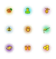 Honey production icons set pop-art style vector image