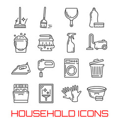 Household icons thin line art vector
