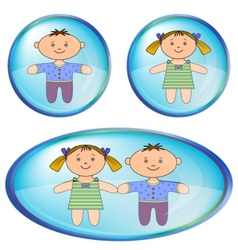 Icons with boy and girl vector