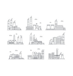industrial complex color icons set manufacturing vector image
