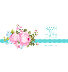 Invitation card with summer flowers vector