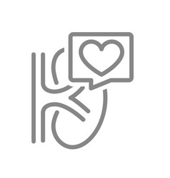 Kidney with heart in chat bubble line icon vector