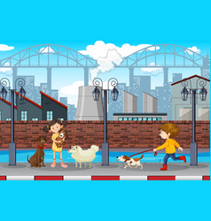 Kids and pets urban scene vector