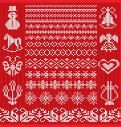 knit geometric ornament borders and design vector image