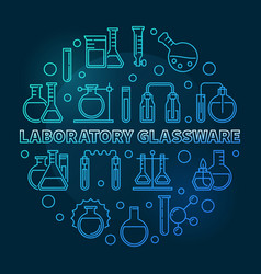 laboratory glassware blue round outline vector image