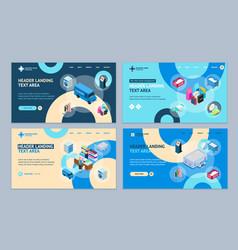 laundry concept landing web page template set 3d vector image