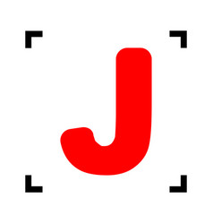 letter j sign design template element red vector image