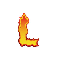 letter l fire flames font lettering tattoo vector image