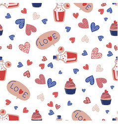 love drink valentines day seamless pattern vector image