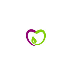 love fruit green leaf organic logo vector image
