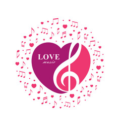 love music with treble and heart vector image