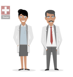 Male doctor and female nurse medical people flat vector