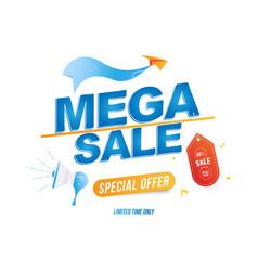mega sale 50 banner template design loudspeaker vector image