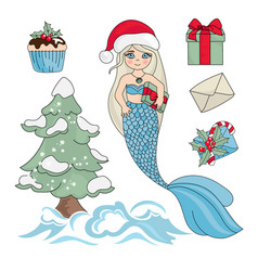 mermaid gift new year color vector image