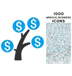 Money Tree Icon with 1000 Medical Business Icons vector