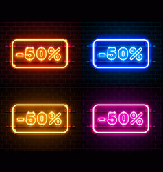 neon 50 off text banner color set night sign vector image