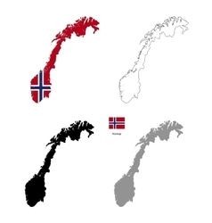Norway country black silhouette and with flag on vector image