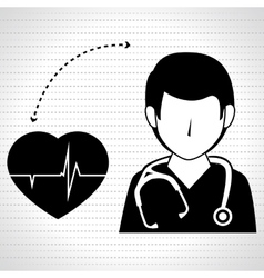 nurse man and cardiology isolated icon design vector image