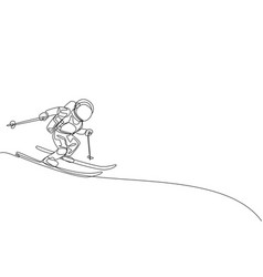 One continuous line drawing astronaut skiing vector