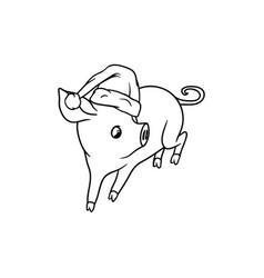 Outline of the running pig with a santa hat on his vector