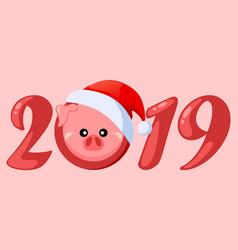 Pig in santa claus hat vector