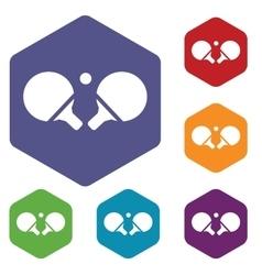 Ping-pong rackets hexagon icon set vector