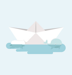 polar bear and whales with paper boat vector image