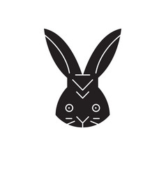 rabbit head black concept icon rabbit head vector image