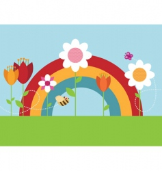 rainbow flower garden vector image