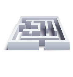 realistic 3d detailed white labyrinth puzzle vector image