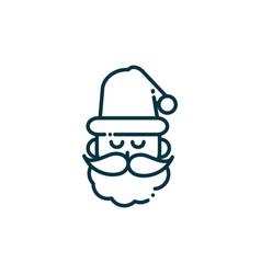 santa claus happy christmas line icon vector image