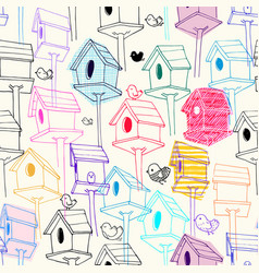 seamless pattern with colorfil birdhouse on vector image